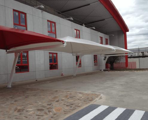 marquesinas de parking con cubiertas textiles