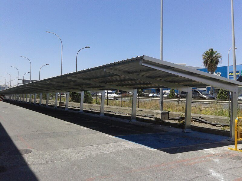 marquesinas de parking para la fabrica de san miguel en malaga