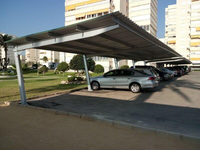 techados metalicos de parking para coches para comunidad de propietarios en alicante