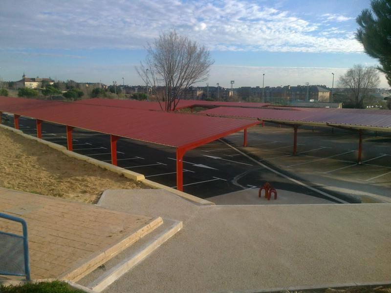 techos metalicos de parking para coches para el instituto carlos iii